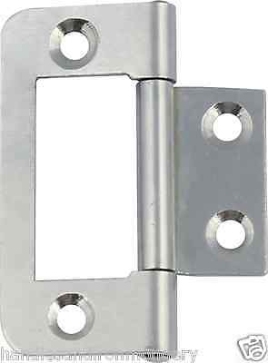 Pair of FLUSH INSET HURL LOUVRE DOOR HINGES Cabinet Cupboard ZINC PLATED 50mm