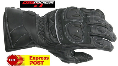 DRIRIDER VELOCITY 2 MOTORCYCLE WATERPROOF GLOVES New rrp$119 Dry Rider leather