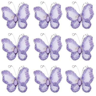 50pcs Glitter Stocking Butterfly Wedding Favor Decor Craft 3x2cm Purple