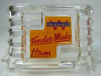 Antique WILSON & Co Tender Made HAM Advertising Art Deco Glass Ashtray ornate