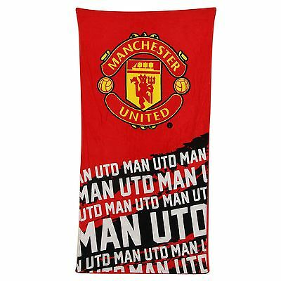 Official Manchester United Fc Impact Towel Kids Beach / Bath Red Free P+P New