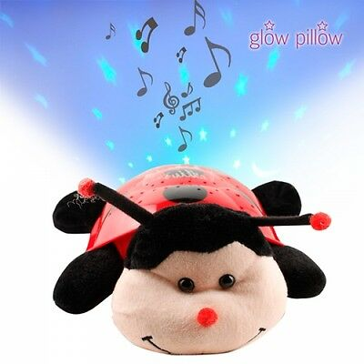 PELUCHE VEILLEUSE PROJECTEUR LUMINESCENT LED MUSICALE COCCINELLE Glow Pillow