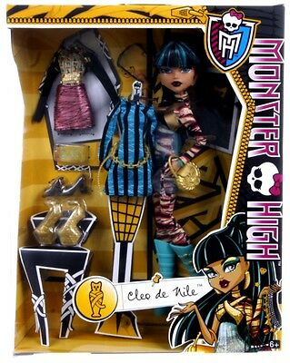 New Official Monster High Cleo De Nile I Heart Fashion Doll Set