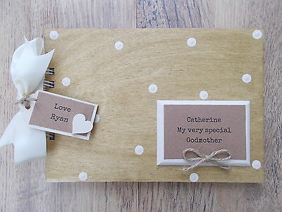 Personalised Special Godmother Wooden Scrapbook/photo Book /memories