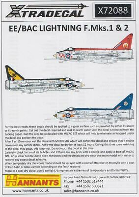 Xtradecal X72088 1/72 BAC/EE Lightning F.1A/F.2 Model Decals