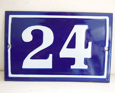 OLD FRENCH HOUSE NUMBER SIGN door gate PLATE PLAQUE Enamel steel metal 24 Blue