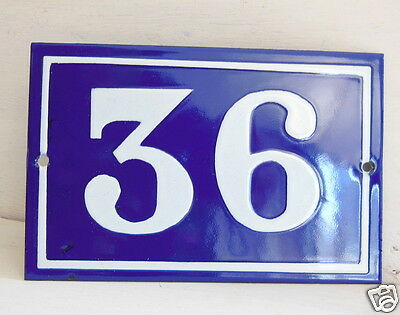 OLD FRENCH HOUSE NUMBER SIGN door gate PLATE PLAQUE Enamel steel metal 36 Blue