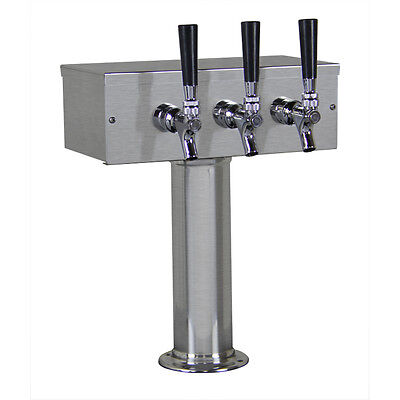Kegco TTOW-3F-BRUSH Brushed Stainless Steel T-Style 3 Faucet Tower