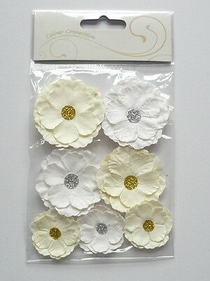 Craftime Connection 9 Handmade Paper Roses Cream White Rose Wedding Flowers