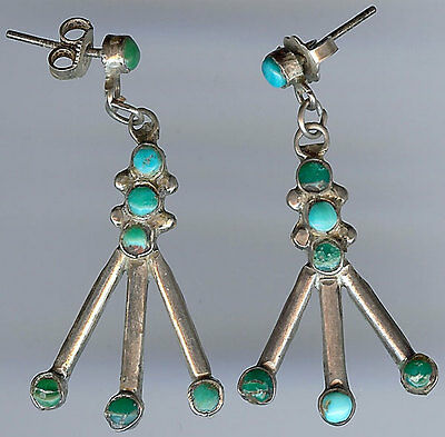 Vintage Zuni Indian Silver Green & Blue Turquoise Pierced Dangle Earrings