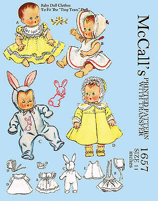 Tiny Tear 11 inch Doll Clothes Sewing Pattern (vintage) - bunny suit, etc