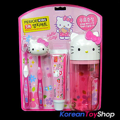 Hello Kitty Toothbrush & Toothpaste Set w/ Holder & Case / Made in Korea