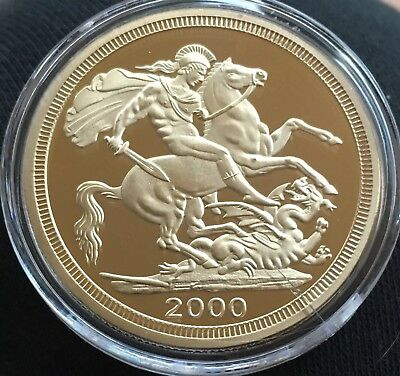 St George Slaying The Dragon Medallion Coin 2000 Finished In 24k Gold .999 1oz