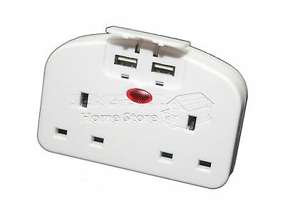 2 Way 2 Gang Travel Adaptor 2 USB Mobile Phone Tablet Charger Plug In Extension