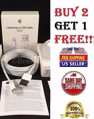 100% OEM 2M Lightning USB Cable 6FT Apple iPhone 6s Plus 6 Data Sync Charger