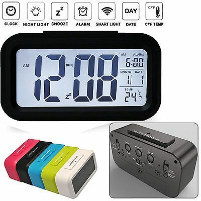 Electronic Digital LED Snooze Backlight Alarm Clock Time Calendar Thermometer