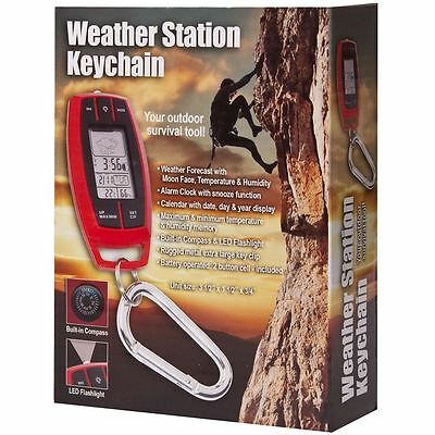 Weather Station Keychain with Compass Tempature and Clock