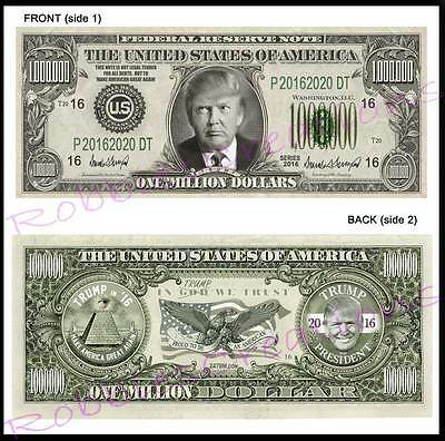 8 Lot-DONALD TRUMP For PRESIDENT 2016 U.S. PAPER Campaign MONEY-Million Dollar