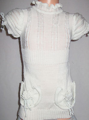 GIRLS CREAMY WHITE FRILLY NECK PUFF SHOULDER WINTER KNIT PARTY DRESS TOP age 4-5