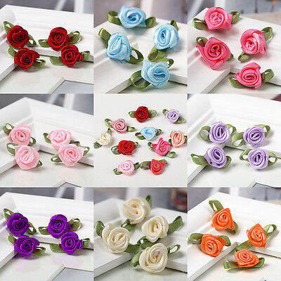 100pcs Mini Satin Ribbon Rose Flower Leaf Wedding Decor Appliques Sewing DIY Q