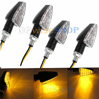 4X15LED Amber Motorcycle Motorbike Turn Signal Light Turning Indicator Universal
