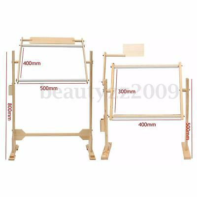 2 Size Wood Embroidery Floor Stand Tabletop Frame Hoop Cross Stitch Needle Craft