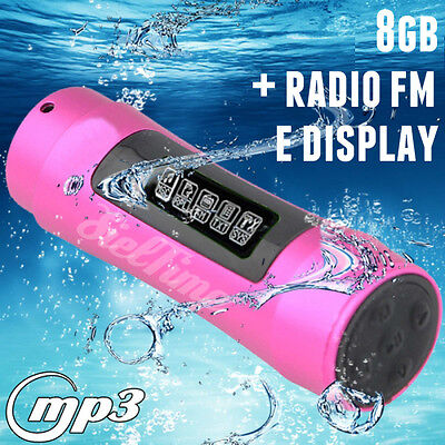 LETTORE Mp3 WATERPROOF SUBACQUEO DISPLAY OLED + AURICOLARI IMPERMEABILE 8gb FM