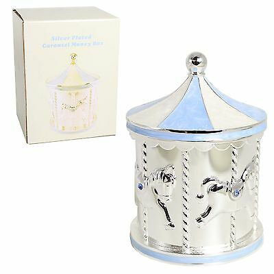 Silver Plated Carousel Money Box with Blue Detail & Diamantes - New Baby Boy