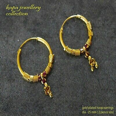 18k Gold Hoop Earrings Gold plated Indian gold small earring kapa jewellry
