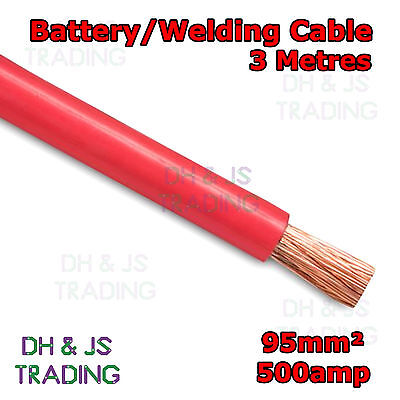 3m Red Battery Welding Cable 95mm² 500a - Flexible Marine Boat Automotive Wire