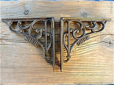 Fantastic Pair Antique Style Gner Railway Cast Iron Shelf Brackets Luggage Rack