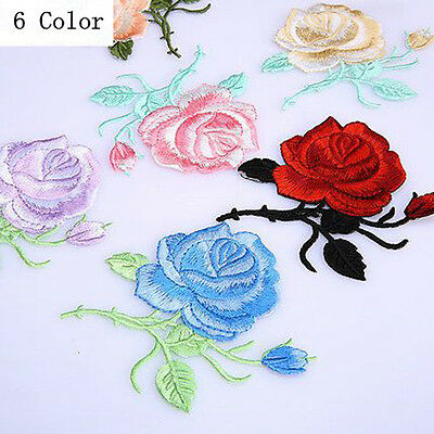 Rose Flower Iron-On Embroidered Patch Applique Motif Garment Decoration Craft RX