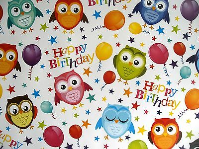2 Sheets Cute Owl - Bird & Balloons Happy Birthday Wrapping Paper (82)