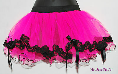 NeW TUTU LACE BOWS CURLY70S 80S EDGE 2 LAYER  FREE P&P ADULT CHILD FANCY DRESS