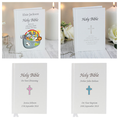 PERSONALISED HOLY BIBLE GIFT Baby Christening First Holy Communion Gift Wedding
