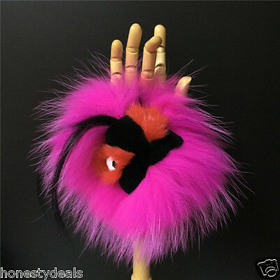 "Hot Pink /Black 8"" real Mink Fur Fox Fur Monster Pompom Bag Bugs Charm Keyring"
