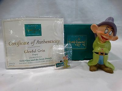 """Wdcc Snow White And The Seven Dwarfs Dopey """"gleeful Grin"""" W/coa & Collectors Pin"""
