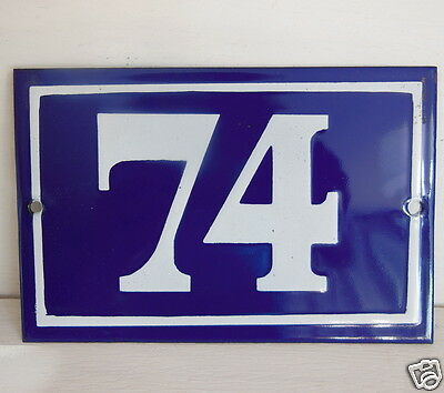 OLD FRENCH HOUSE NUMBER SIGN door gate PLATE PLAQUE Enamel steel metal 74 Blue