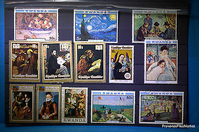 Lot  timbres RWANDA  format Tableaux, Oeuvres  tous différents 88M255
