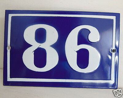 OLD FRENCH HOUSE NUMBER SIGN door gate PLATE PLAQUE Enamel steel metal 86 Blue