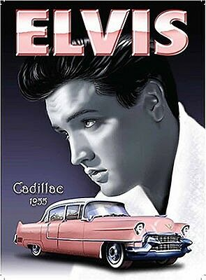 Elvis and Cadillac steel fridge magnet   (og)