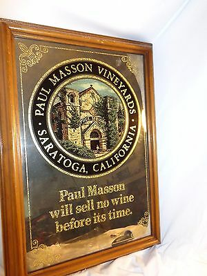 "Paul Masson Vineyards Saratoga  California Mirror Vintage with21"" wood frame Bar"