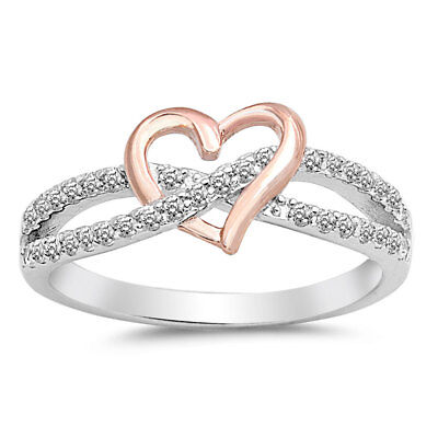 .925 Sterling Silver Infinity Rose Gold Heart Clear CZ Promise Ring Size 5-10
