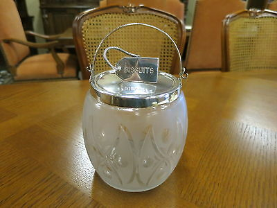 Silver Plated Etched Glass Biscuit Barrel