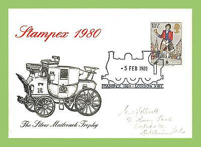 GB 1980 Silver Mailcoach Trophy Cover Stampex Steam Locomotive Cancel
