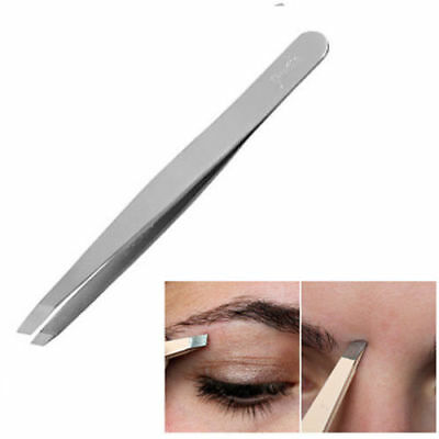 Tweezers Stainless Steel Eyebrows Hair Beauty Slanted Angled Tip Edge Tweezer