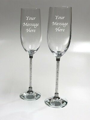 2 Personalised Engraved Crystal Stem Champagne Glass Flutes  Wedding Engagement