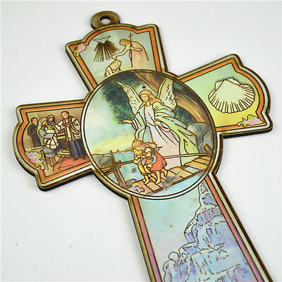 Wooden Religious Saint Crucifixes With Gurdian Angel Picture