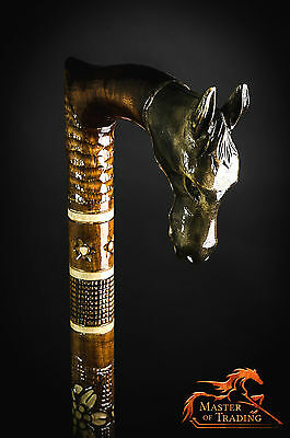 """THE HORSE"" Hand Carved Wooden Walking Stick - Piece Of Art !!!"