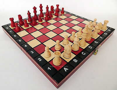 BRAND NEW BORDEAUX RED HANDCRAFTED MAGNETIC TRAVEL WOODEN CHESS SET 27cm